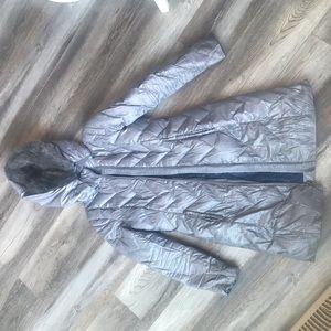 Tahari Silver Long Puffer Jacket